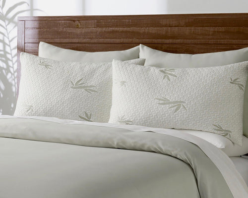 Close Up Of The Hulya Adjustable Shredded Memory Foam Pillows On A Bed