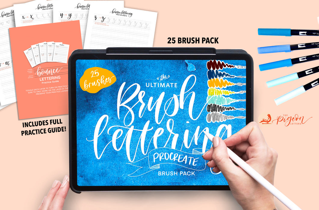 Procreate Brush Lettering Bundle | 25 Brush Pack PLUS Workbook on Bounce Lettering