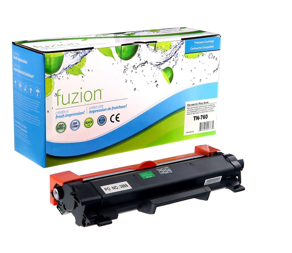 FUZION TN760CO - CARTOUCHE DE TONER NOIR À HAUT RENDEMENT (compatible Brother TN760)
