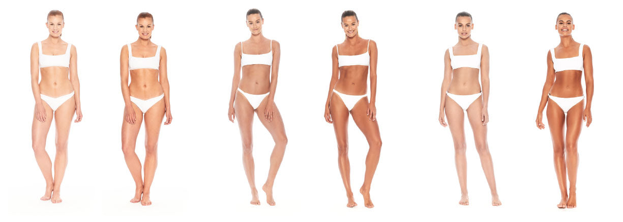 Three models before and after tanning