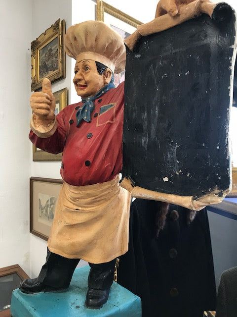 Chef with promotional chalk board - Room for Antiques