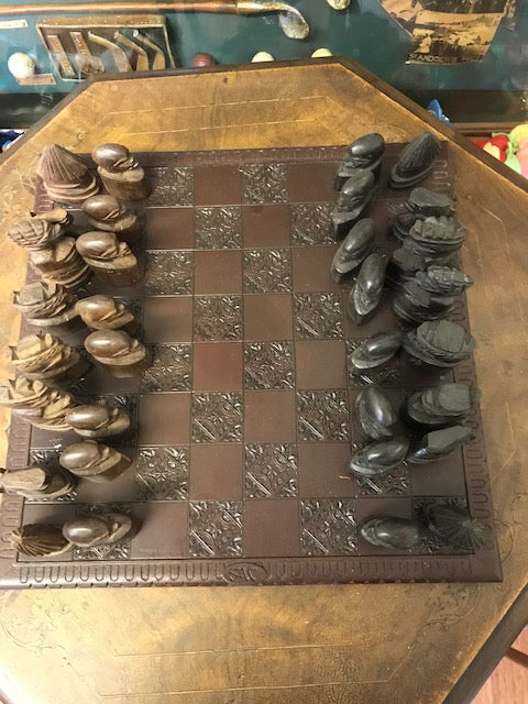 Hand Carved Chess Set - Room for Antiques