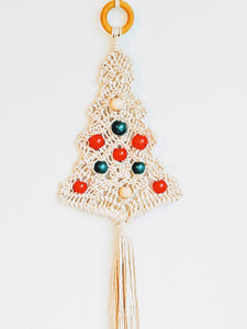 Beaded Macramé Christmas Tree Wall Hanging with FREE SHIPPING! Choose Natural or Red/Green Wood Beads
