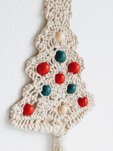 Load image into Gallery viewer, Beaded Macramé Christmas Tree Wall Hanging with FREE SHIPPING! Choose Natural or Red/Green Wood Beads