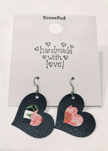 *FG FUNDRAISER* Black Floral Stacked Heart Earrings with Shipping Included!