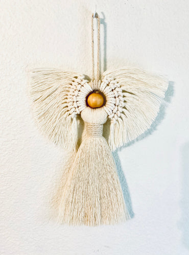 Handcrafted macramé angel wall hanging
