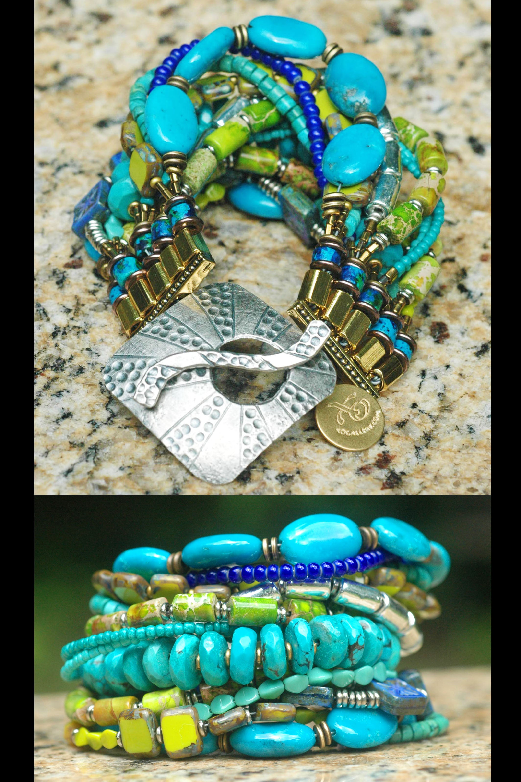 Custom Turquoise, Cobalt, Lime Green and Silver Bold Statement Cuff