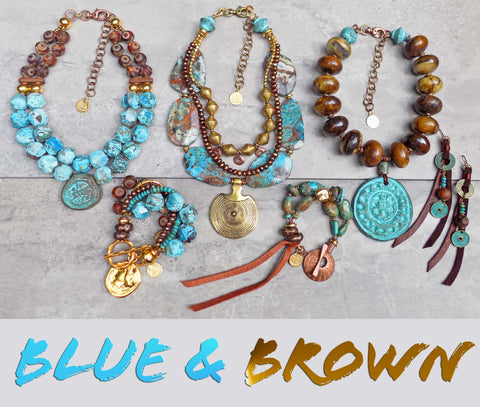 NEW Turquoise Blue and Chocolate Brown Jewelry Collection
