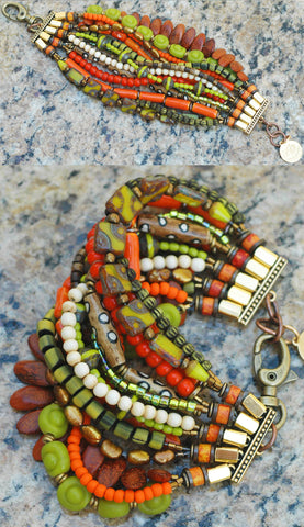 Bohemian Tribal Multi-Strand Orange and Green Cuff Statement Bracelet