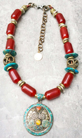 Beautiful Burgundy Red and Turquoise Tibetan Pendant Necklace