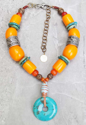 Chunky Yellow, Orange, Amber Resin & Turquoise Donut Pendant Necklace