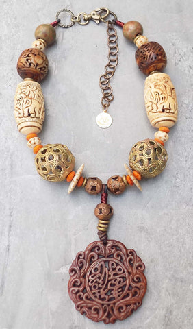 Carved Bone, African Brass and Carved Jade Statement Pendant Necklace