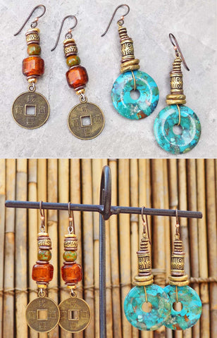 New! Custom Turquoise Disc and Amber Coin Short Earrings $45