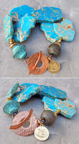 Aqua Blue Jasper Slab, Brown Terra Cotta, Brass & Thai Copper Bracelet