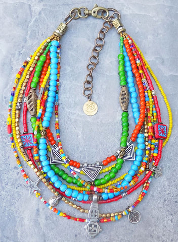 Custom Bohemian Tribal African Trade Bead Necklace