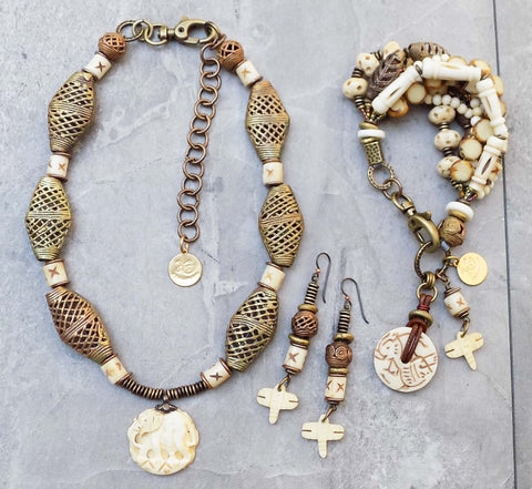 Exotic African Bone White and Brass Tembo Collection