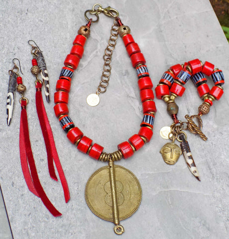 New! Tribal Inspired Red, Black and African Brass Jewelry Collection