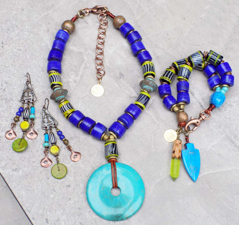 NEW! Island Tribal Mozambique Cobalt Blue, Lime & Turquoise Jewelry Collection