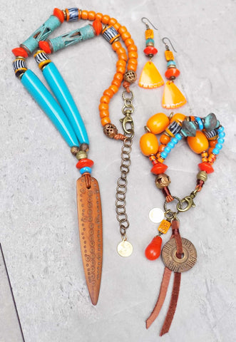 NEW Island Tribal Turquoise and Orange Bohemian Summer Jewelry
