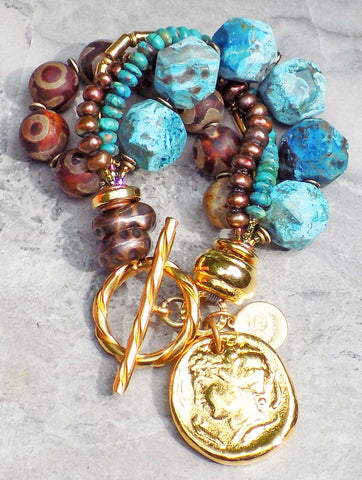 Surreal Rustic Blue Agate, Brown Tibetan Agate & Gold Coin Bracelet