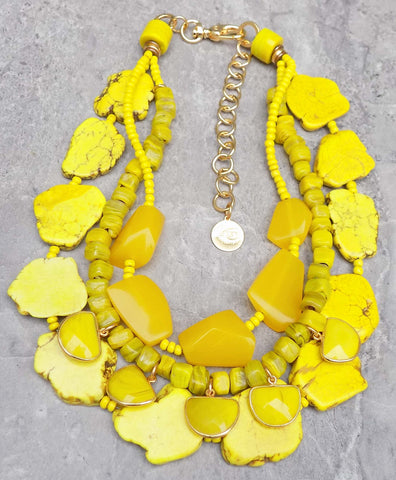 Brilliant and Bold Yellow Bib Style Statement Necklace $250