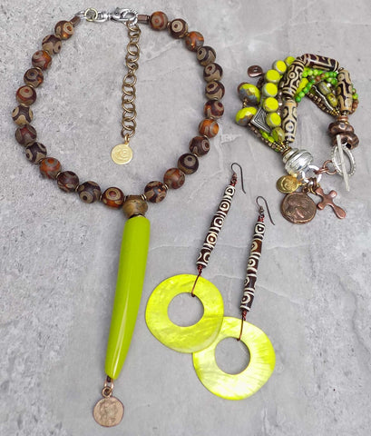 Exotic Tribal Style Lime Green Jewelry Collection