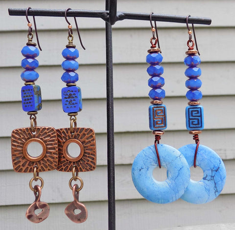 New pairs of Periwinkle, Violet and Copper Earrings
