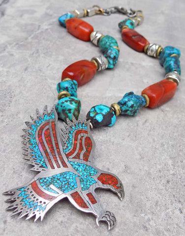 Custom Navajo Inspired Men's Turquoise and Coral Eagle Pendant Necklace