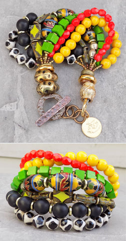 Custom Black, White, Green, Yellow and Red Chunky Statement Bracelet