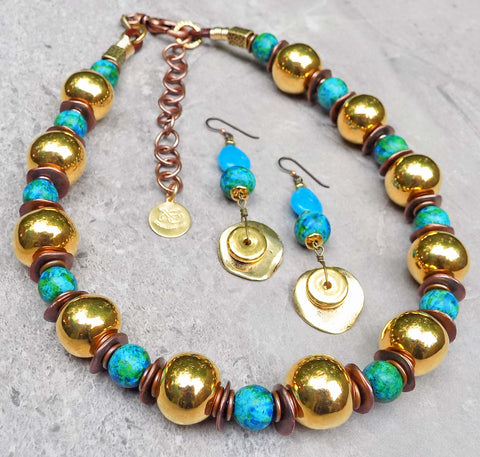 Summer Aegean Blue and Gold Necklace Collar and Dangle Earrings