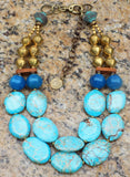 Aqua Blue Jasper, Brown Terra Cotta & African Brass Statement Necklace