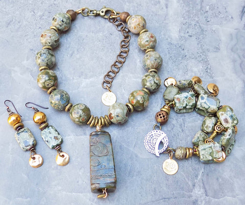 Beautiful NEW Green Rhyolite Stone and Grecian Gold Jewelry Collection
