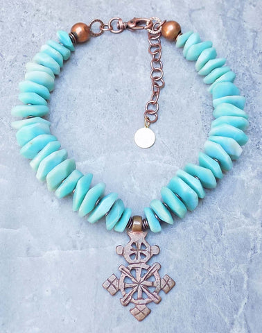 Stunning Blue Amazonite Disc & Copper Ethiopian Cross Choker Necklace