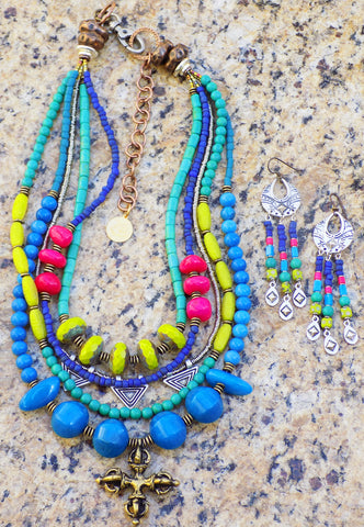 Gorgeous Custom Blue, Chartreuse, Purple and Pink Necklace and Earrings