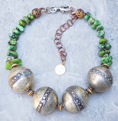 Unique Green Turquoise & Berber Silver Ball Choker Statement Necklace