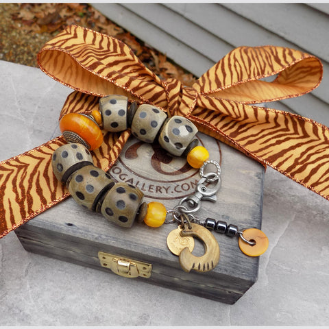 Exotic Water Buffalo Horn and Amber Yellow Tribal Charm Bracelet