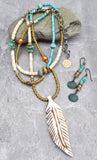 Bohemian Southwest Style Feather Necklace and Sea-Inspired Earrings