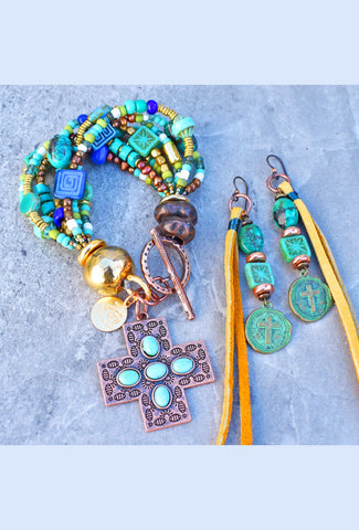 Turquoise and Copper Cross Bracelet and Leather Fringe Earrings Set