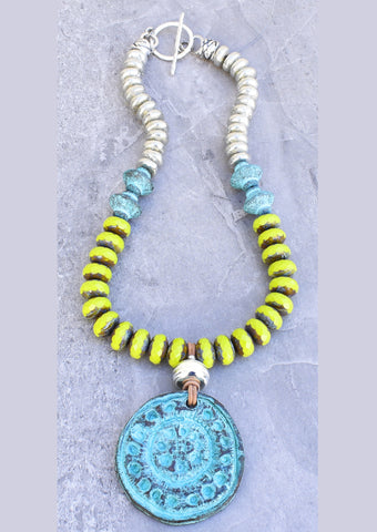 Bold Lime Green, Turquoise and Silver Pendant Necklace