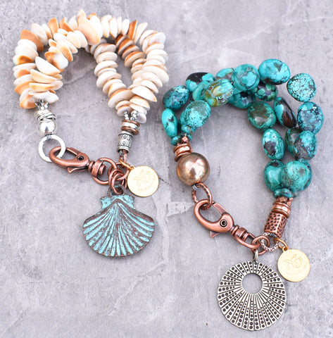 Simple Summery Charm Bracelets: Shell and Turquoise Charm Bracelets