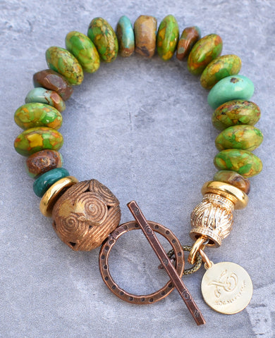 Mosaic Green Turquoise and Gold Bracelet