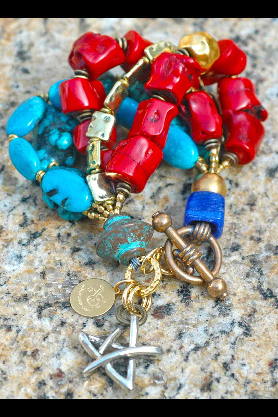 Stunning Custom Chunky Turquoise, Coral and Gold Star Charm Bracelet