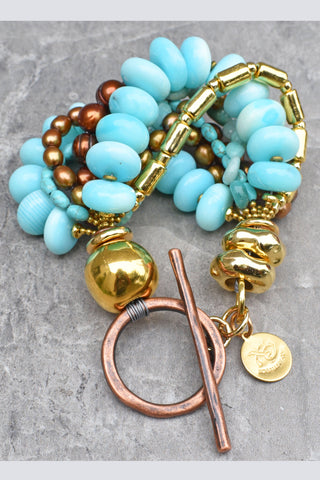 Luxurious Blue Opal, Gold and Bronze Multi-Strand Statement Bracelet