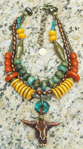 NEW! Tibetan Turquoise Amber & Bull Skull Warrior Statement Necklace