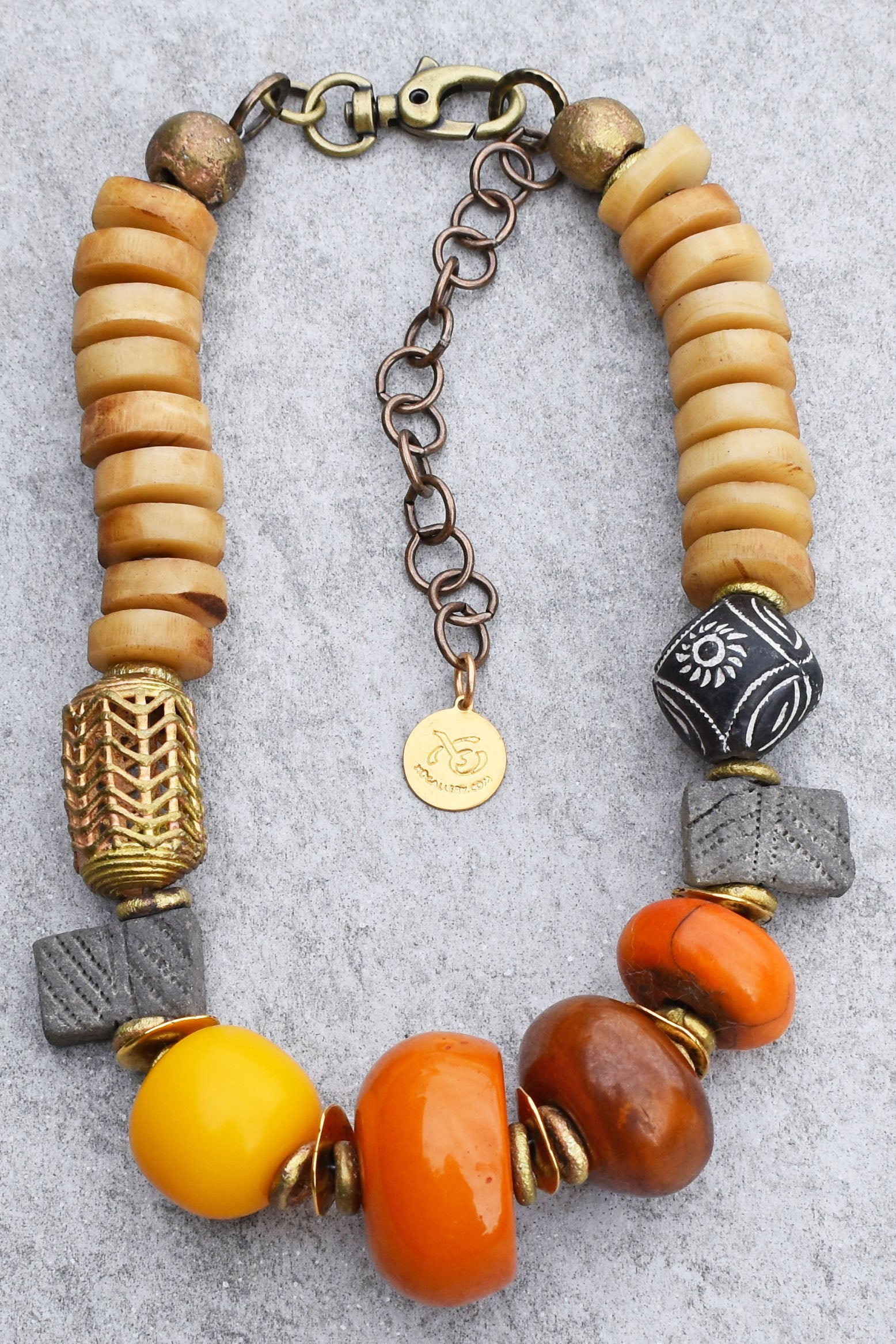 NEW!! Buddhist Temple Inspired Exotic African Bone, Brass, Clay and Copal Amber Necklace $215