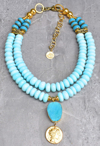 Absolutely Stunning Peruvian Blue Opal, Gold Coin & Druzy Agate Pendant Necklace $350