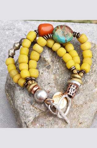 Exotic Tibetan Inspired Yellow and Turquoise Everyday Bracelet $95