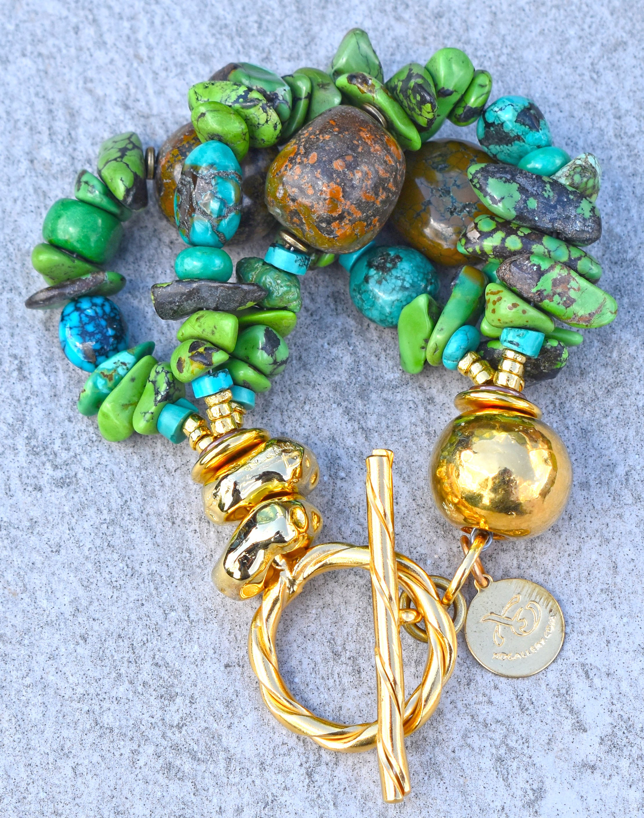 Gorgeous Lush Mixed Green & Blue Turquoise and Gold Statement Bracelet