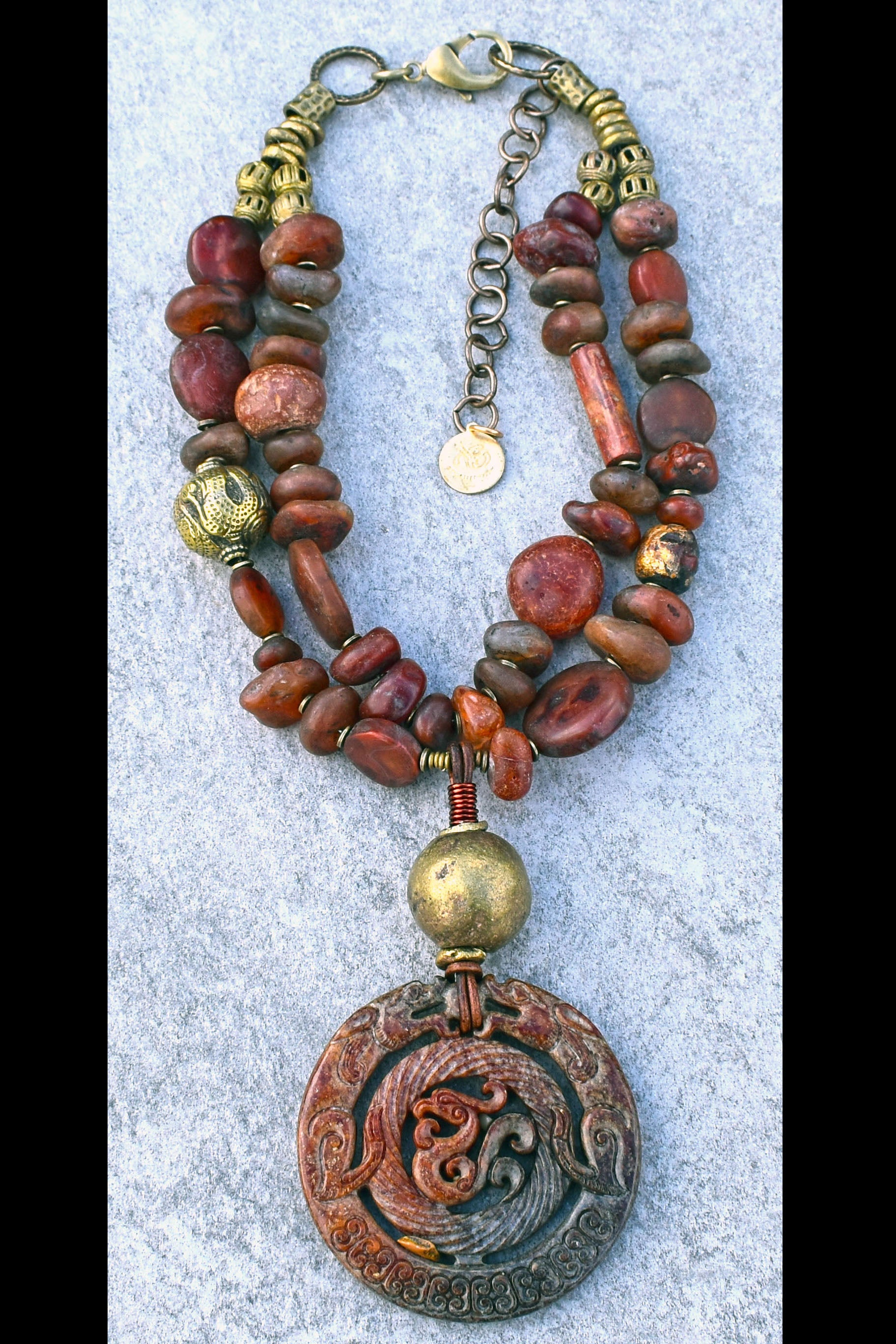 Ancient Rustic African Carnelian, Brass & Carved Jade Amulet Necklace