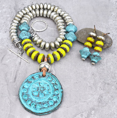 Bold Lime Green, Turquoise and Silver Statement Necklace and Earrings